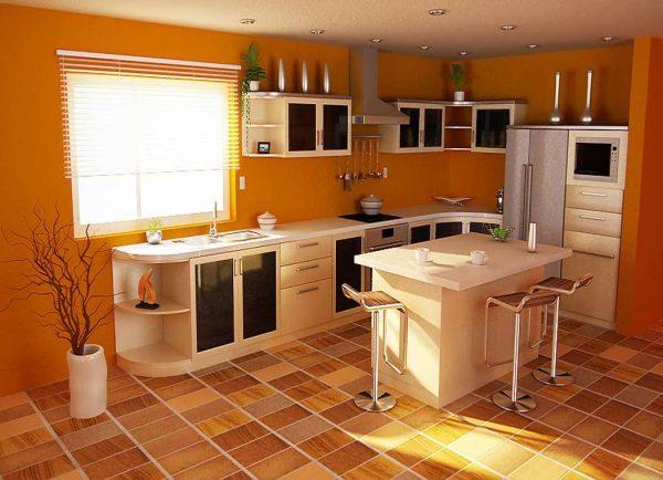 Кухня с полом, покрытым линолеумом