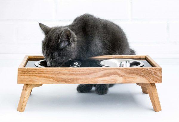 Сдвоенная кошачья миска на подставке