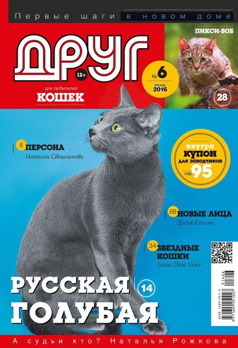 Русская голубая кошка на обложке журнала