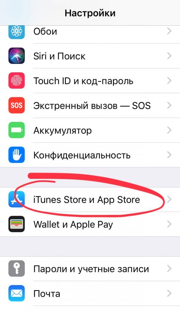 Настройки iTunes Store
