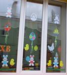 Украшение окна к Пасхе: вариант 4
