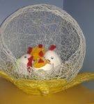 Яйца и цыплята в корзине