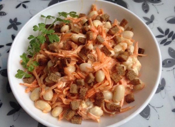 Салат из корейской моркови и фасоли