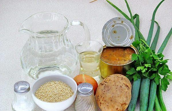Продукты для приготовления супа с консервированной сайрой и пшеном
