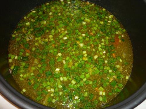 Рыбный суп с мелко нарезанным зелёным луком в чаше мультиварки