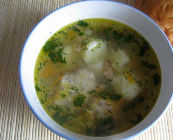 Рыбный суп с макаронными изделиями, овощами и зеленью в порционной тарелке на столе