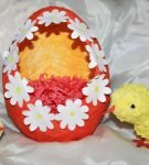 Яйцо папье-маше с цыплятами