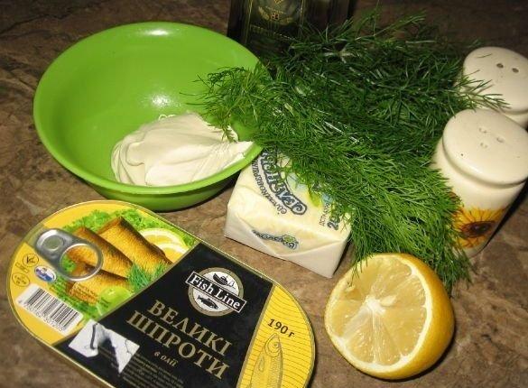 Продукты для приготовления паштета из шпрот со сливками