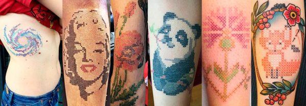Примеры тату в стиле вышивки