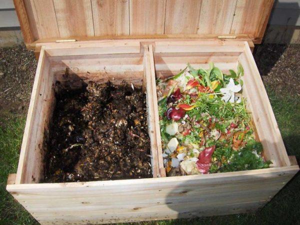 Короб для компоста с двумя отсеками