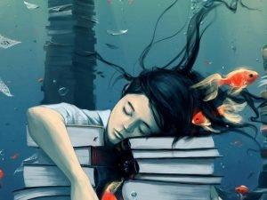 девочка спит на книгах рисунок