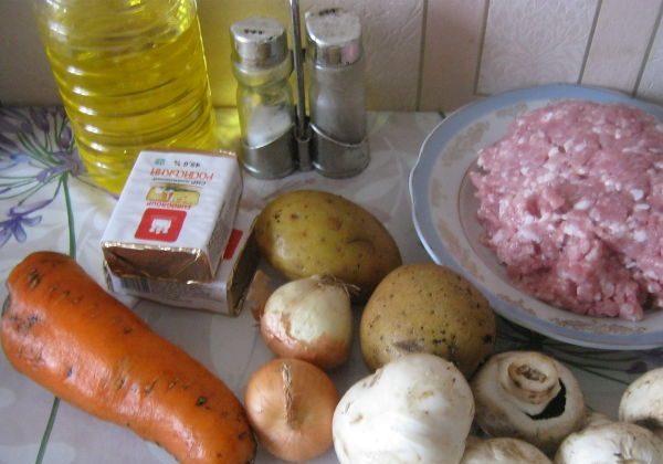 Продукты для сырного супа с фрикадельками и грибами