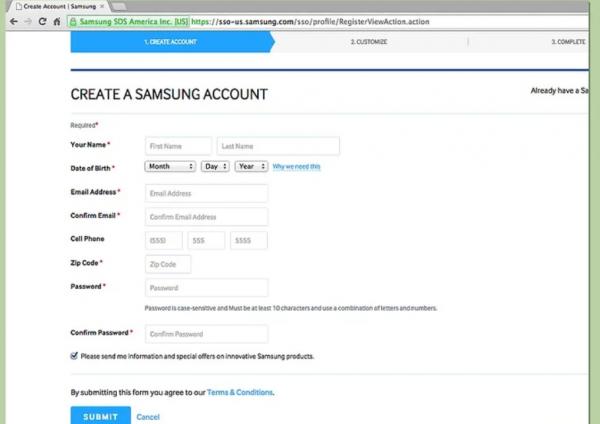 Создание аккаунта Samsung