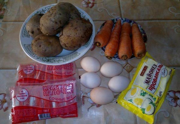 Картофель, яйца, морковь, крабовые палочки