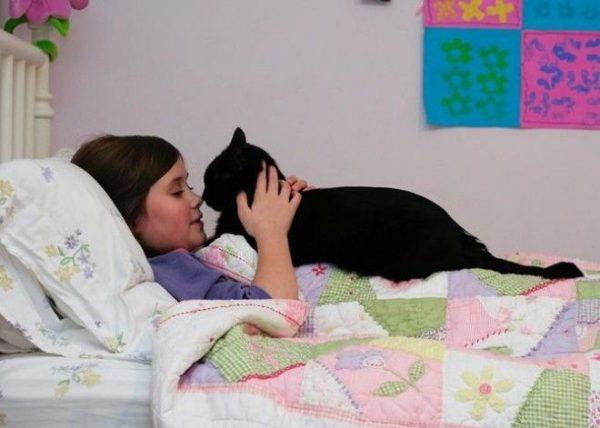 Кот с ребёнком в кровати