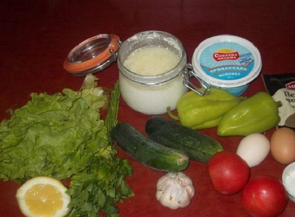 Овощи, зелень, лимон и кефир