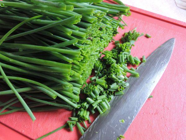 Зелёный лук и нож на красной разделочной доске