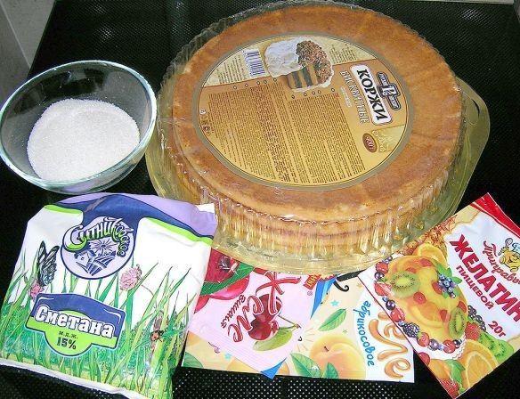 Продукты для приготовления торта «Битое стекло» по самому простому рецепту