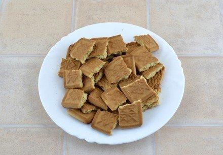 Разломанное на крупные кусочки печенье в белой тарелке