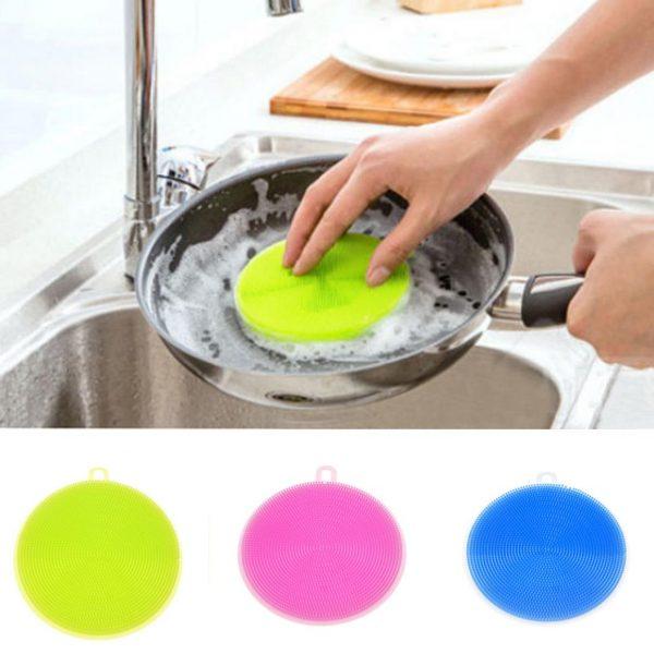 Силиконовая щётка для мытья посуды, овощей и фруктов