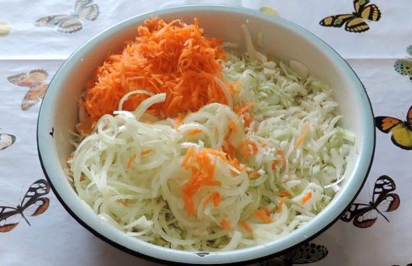 Нашинкованная белокочанная капуста, тёртая морковь и нарезанный полукольцами репчатый лук в большой эмалированной миске на столе