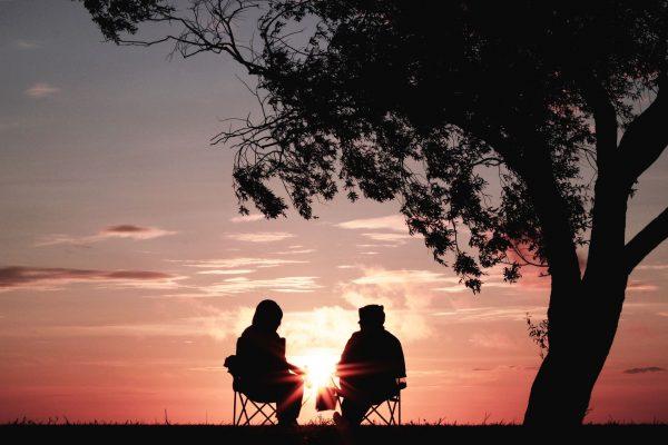 Люди под деревом на закате
