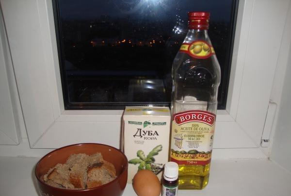 Ингредиенты для приготовления маски на основе ржаного хлеба