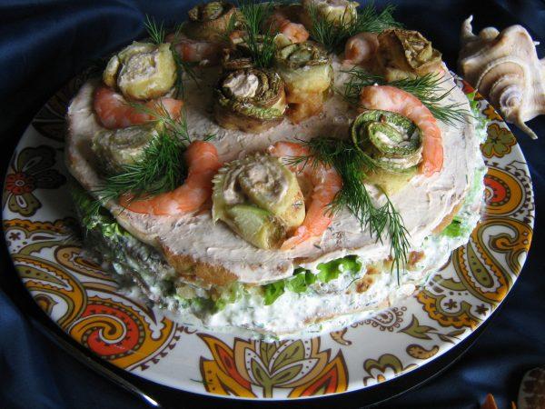 Кабачковый торт с крабовыми палочками