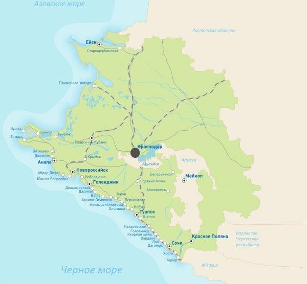 Краснодар на карте Краснодарского края