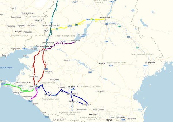Краснодарский край на карте дорог