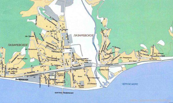 Подробная карта Лазаревского