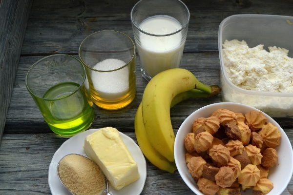 Печенье, масло, творог, бананы