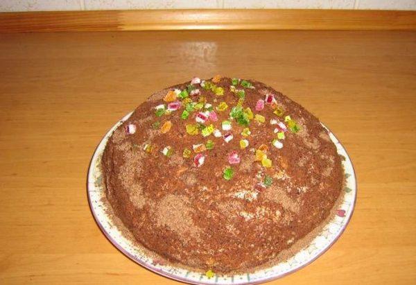 Готовый торт из печенья «Рыбки»