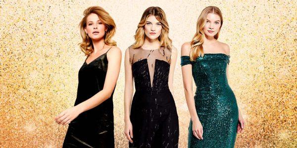Три девушки в платьях