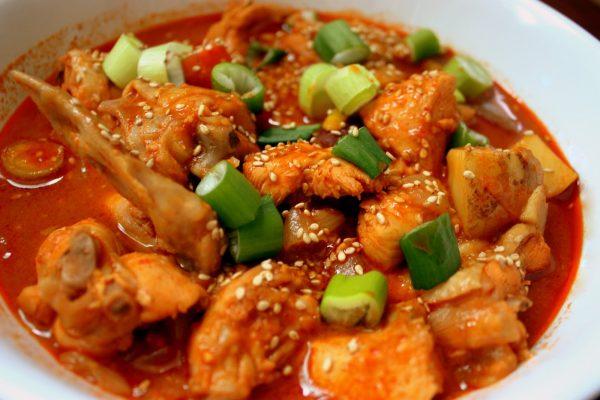 Острая курица с овощами