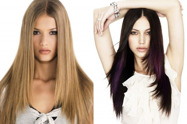 Каскад и прямые волосы