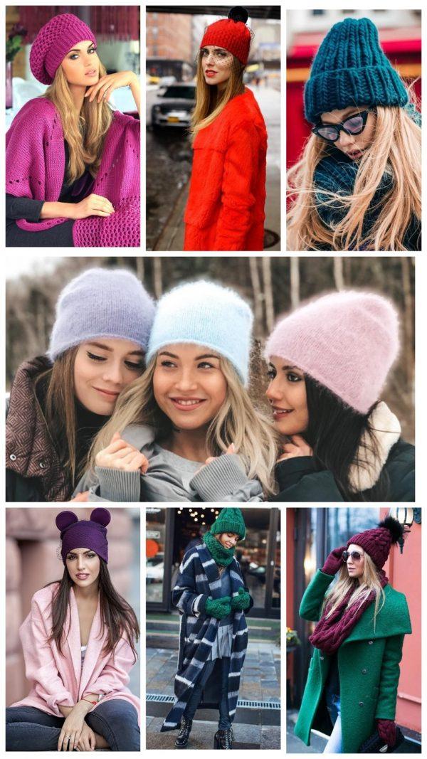 Коллаж: модные шапки 2019–2020