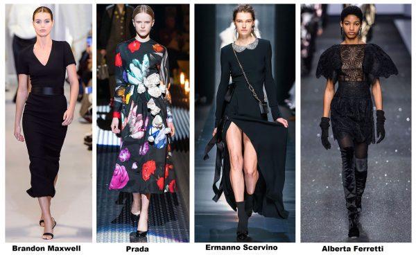 Чёрные платья с показов моды осень-зима 2019–2020