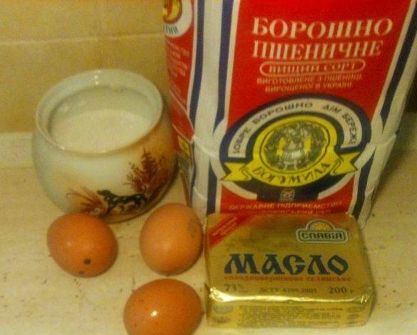 Масло, мука и яйца