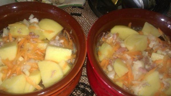 Картофель с тушёнкой, луком, морковью и водой в керамических горшках для запекания