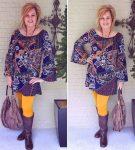 Платье бохо и жёлтые брюки