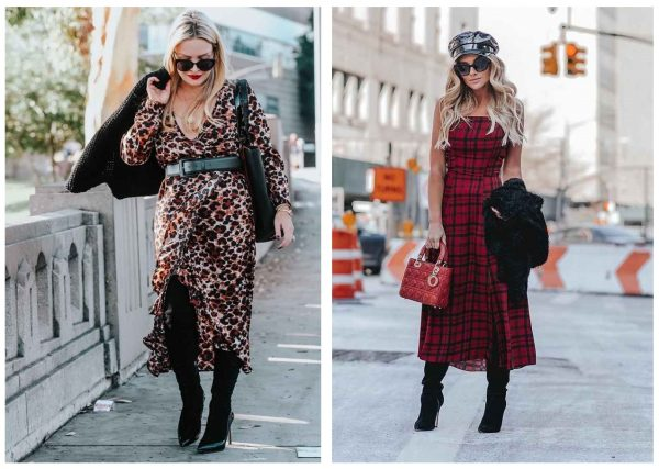 Мода 2019–2020, леопардовое и клетчатое платье