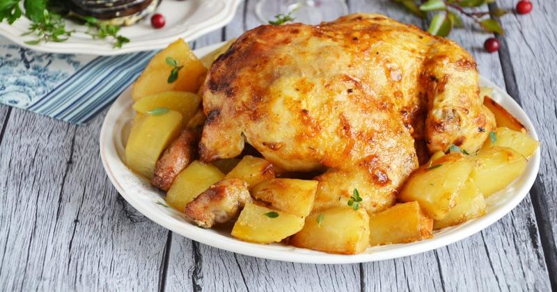 Курица с картофелем, запечённая в пакете