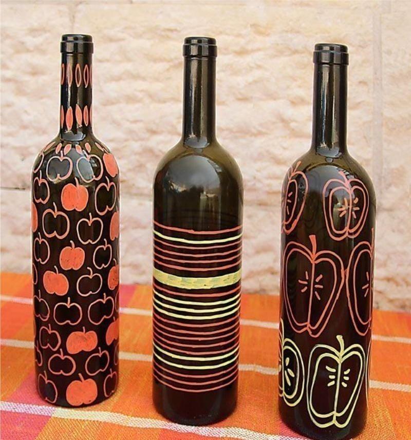 Раскрашенные бутылки